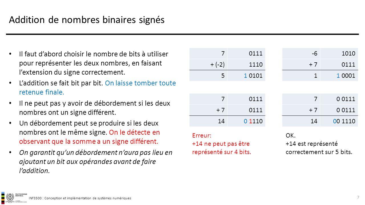INF3500 : Conception et implémentation de systèmes numériques Addition de nombres binaires signés Il faut d'abord choisir le nombre de bits à utiliser pour représenter les deux nombres, en faisant l'extension du signe correctement.