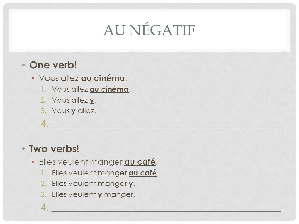 AU NÉGATIF One verb! Vous allez au cinéma. 1.Vous allez au cinéma. 2.Vous allez y. 3.Vous y allez. 4.______________________________________________ Tw