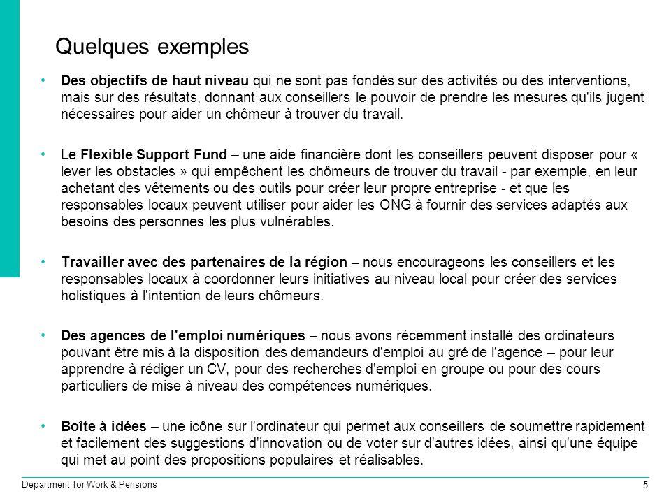 5 Department for Work & Pensions Quelques exemples Des objectifs de haut niveau qui ne sont pas fondés sur des activités ou des interventions, mais su