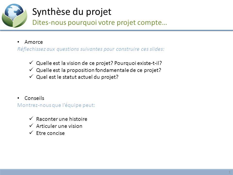 Synthèse du projet Dites-nous pourquoi votre projet compte… Amorce Réflechissez aux questions suivantes pour construire ces slides: Quelle est la visi