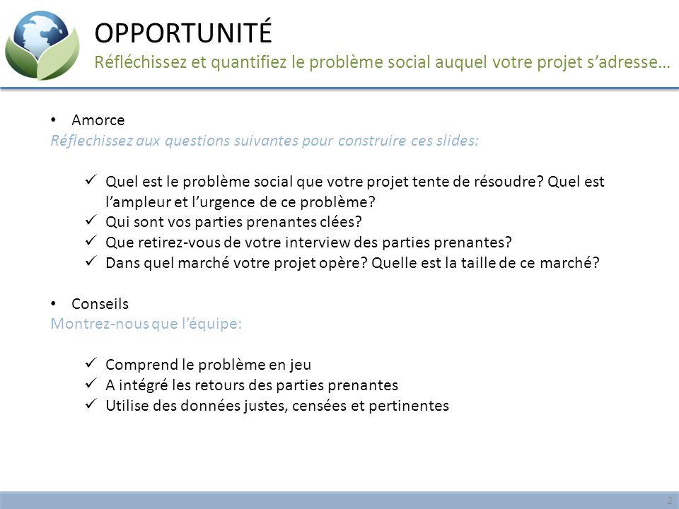 Amorce Réflechissez aux questions suivantes pour construire ces slides: Quel est le problème social que votre projet tente de résoudre? Quel est l'amp