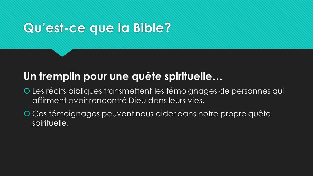 Qu'est-ce que la Bible? Un tremplin pour une quête spirituelle…  Les récits bibliques transmettent les témoignages de personnes qui affirment avoir r