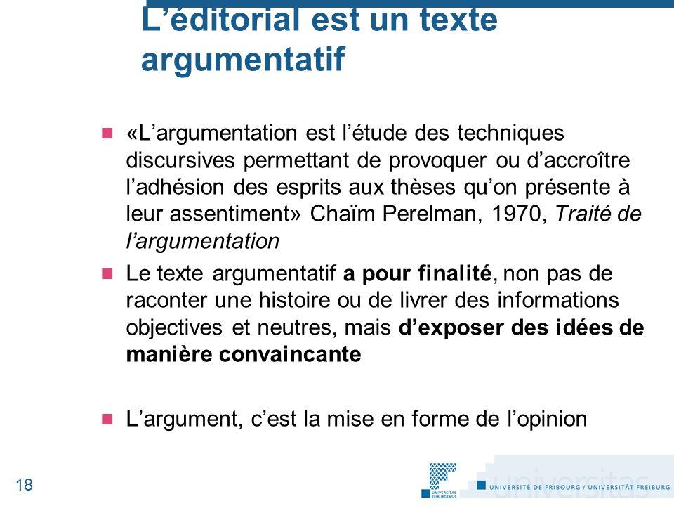L'éditorial est un texte argumentatif «L'argumentation est l'étude des techniques discursives permettant de provoquer ou d'accroître l'adhésion des es