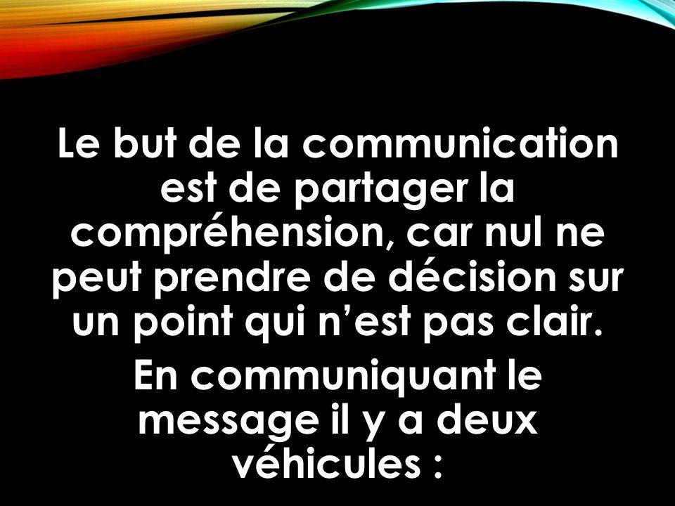Le but de la communication est de partager la compréhension, car nul ne peut prendre de décision sur un point qui n'est pas clair. En communiquant le