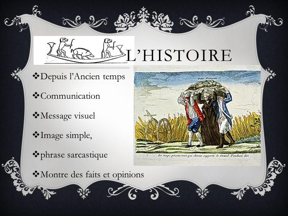 L'HISTOIRE  Depuis l'Ancien temps  Communication  Message visuel  Image simple,  phrase sarcastique  Montre des faits et opinions