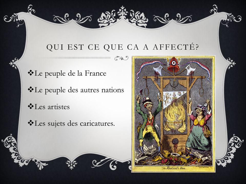 QUI EST CE QUE CA A AFFECTÉ?  Le peuple de la France  Le peuple des autres nations  Les artistes  Les sujets des caricatures.