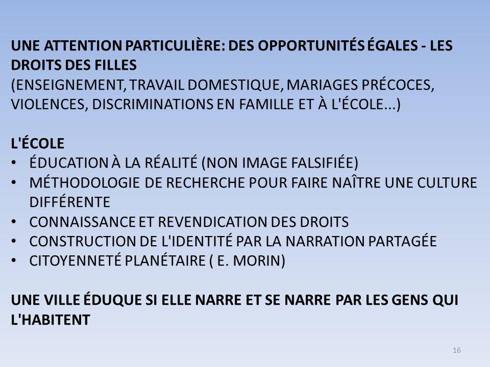 UNE ATTENTION PARTICULIÈRE: DES OPPORTUNITÉS ÉGALES - LES DROITS DES FILLES (ENSEIGNEMENT, TRAVAIL DOMESTIQUE, MARIAGES PRÉCOCES, VIOLENCES, DISCRIMINATIONS EN FAMILLE ET À L ÉCOLE...) L ÉCOLE ÉDUCATION À LA RÉALITÉ (NON IMAGE FALSIFIÉE) MÉTHODOLOGIE DE RECHERCHE POUR FAIRE NAÎTRE UNE CULTURE DIFFÉRENTE CONNAISSANCE ET REVENDICATION DES DROITS CONSTRUCTION DE L IDENTITÉ PAR LA NARRATION PARTAGÉE CITOYENNETÉ PLANÉTAIRE ( E.