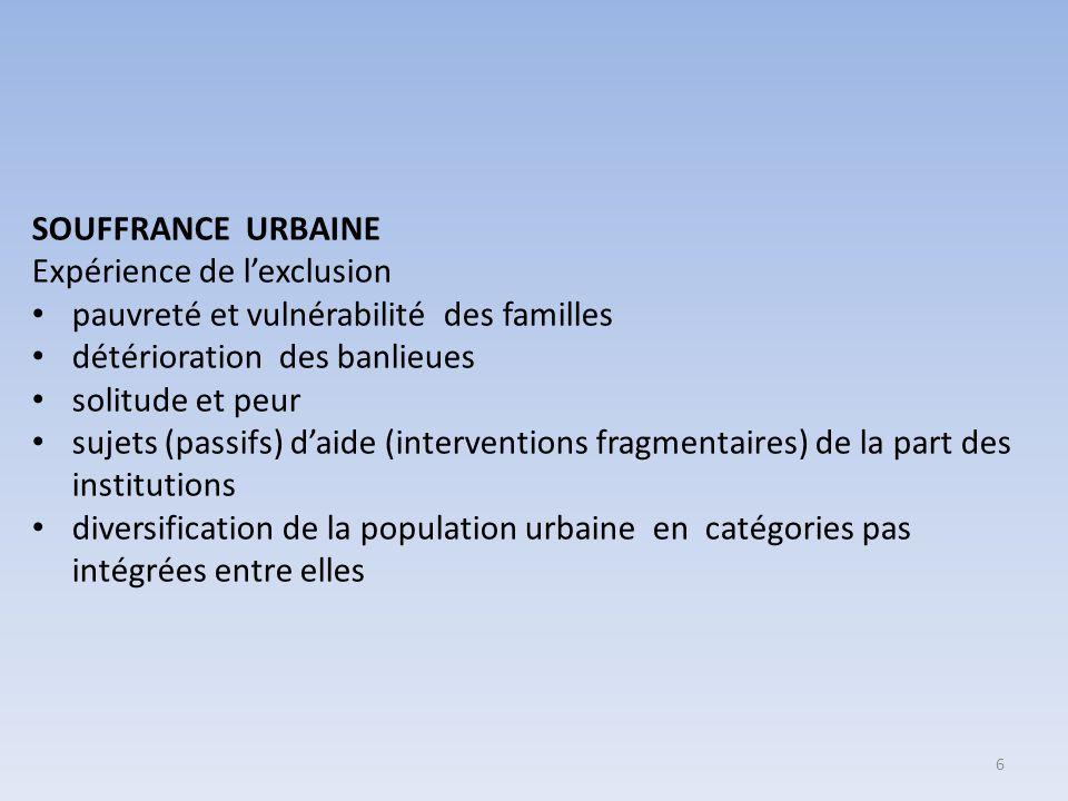 DES POSSIBLES RÉPONSES (EN PLUS DE L'ÉDUCATION) PERSONNE NE PEUT RÉUSSIR TOUT SEUL CREATION DE RESEAUX DE SOLIDARITE (INSTITUTIONS, ORGANISATIONS, CITOYENS,…) PASSAGE D'UNE LOGIQUE D'ASSISTANCE SOCIALE A UNE LOGIQUE DE RESPONSABILISATION DES LABORATOIRES POUR NOUER LE TRAVAIL SOCIO-EDUCATIF ET LE TRAVAIL POLITIQUE RECHERCHE DE SOLUTIONS CREATIVES POUR DES QUESTIONS COMPLEXES LA VILLE DU FUTUR: DE L'EXCLUSION A' L'INCLUSION CONCEPTION DU TISSU URBAIN « REPRISE » DES BANLIEUES (RENZO PIANO : PETITES TRANSFORMATIONS DANS LE SENS D'AMELIORER ET NON PAS DE DEMANTELER) CONNEXION DES ESPACES ACCÈS AUX SERVICES ATTENTION AUX UTILISATEURS 'FAIBLES' DE LA VILLE RECHERCHE DE LA BEAUTÉ CONSTRUCTION DE LIEUX DE MÉTISSAGE ET NON PAS DE SÉPARATION LIEU D'OPPORTUNITE, DE COMMUNICATION 7