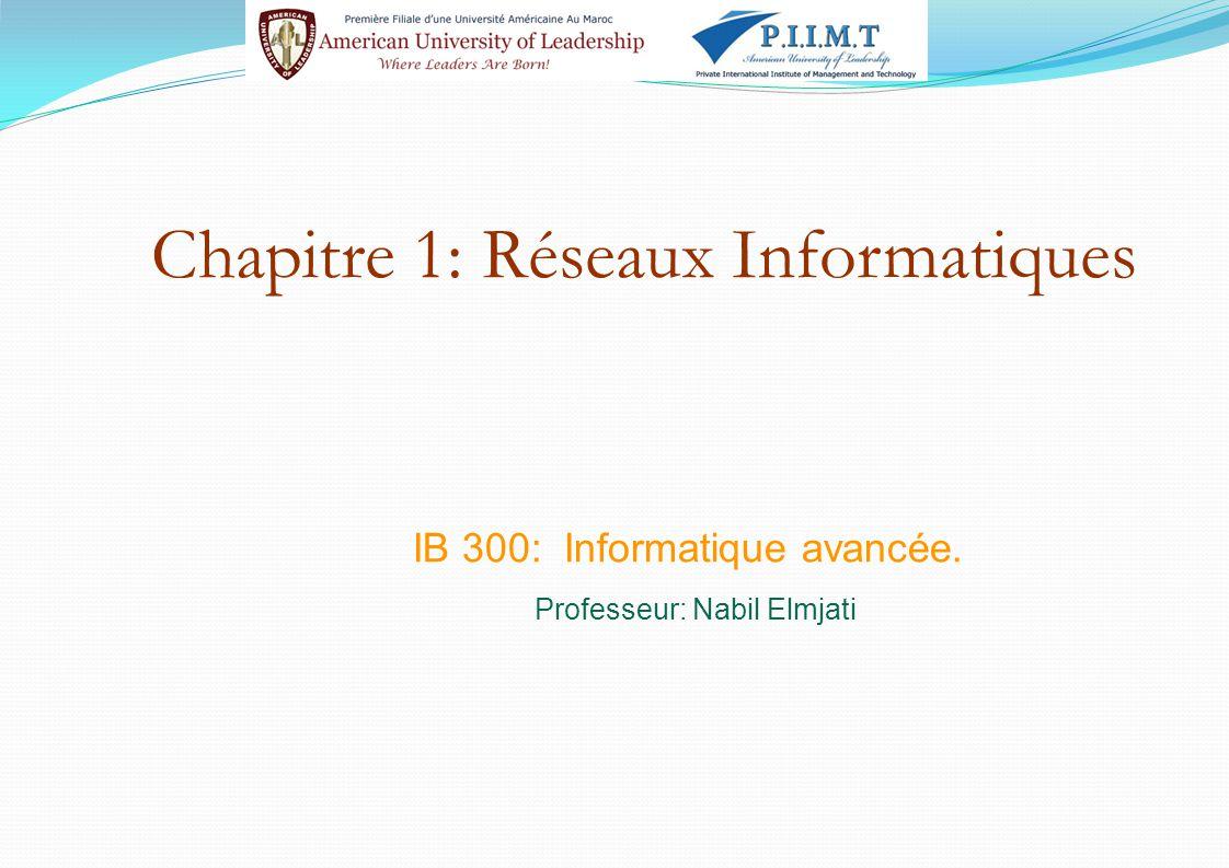 Chapitre 1: Réseaux Informatiques IB 300: Informatique avancée. Professeur: Nabil Elmjati