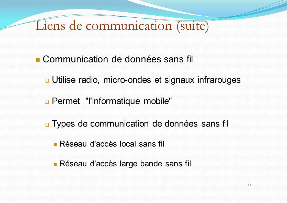 Liens de communication (suite) Communication de données sans fil  Utilise radio, micro-ondes et signaux infrarouges  Permet