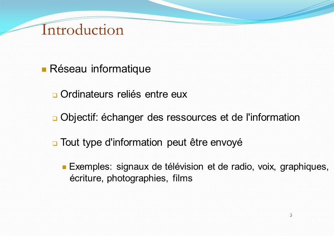 Introduction Réseau informatique  Ordinateurs reliés entre eux  Objectif: échanger des ressources et de l'information  Tout type d'information peut