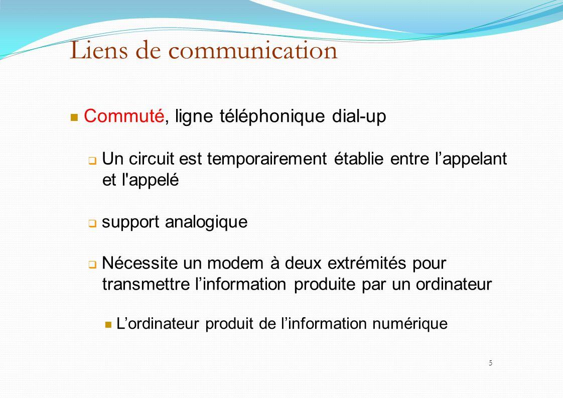Liens de communication Commuté, ligne téléphonique dial-up  Un circuit est temporairement établie entre l'appelant et l'appelé  support analogique 