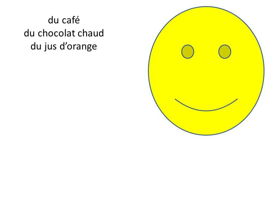 du café du chocolat chaud du jus d'orange