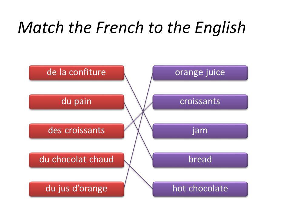de la confiture du pain des croissants du chocolat chaud du jus d'orange orange juice croissants jam bread hot chocolate Match the French to the Engli