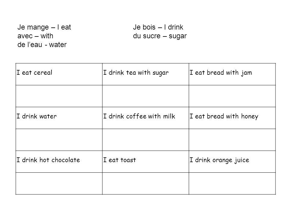 Je mange – I eatJe bois – I drink avec – withdu sucre – sugar de l'eau - water I eat cerealI drink tea with sugarI eat bread with jam I drink waterI d