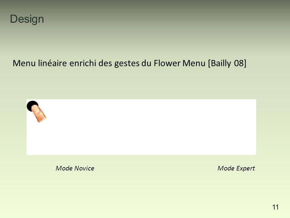 11 Menu linéaire enrichi des gestes du Flower Menu [Bailly 08] Mode NoviceMode Expert