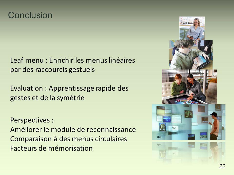 Conclusion 22 Perspectives : Améliorer le module de reconnaissance Comparaison à des menus circulaires Facteurs de mémorisation Leaf menu : Enrichir l