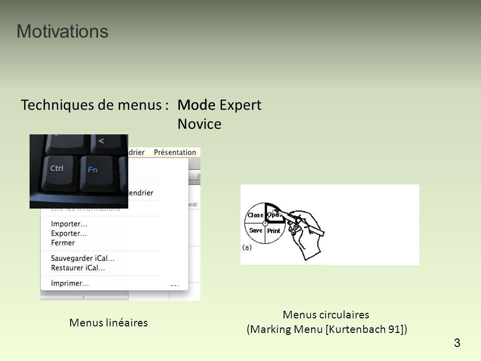 Motivations 3 Techniques de menus : Menus linéaires Menus circulaires (Marking Menu [Kurtenbach 91]) Mode Novice Mode Expert