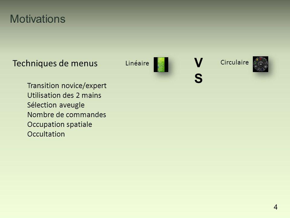 22 Leaf menu : Enrichir les menus linéaires par des raccourcis gestuels Evaluation : Apprentissage rapide des gestes et de la symétrie