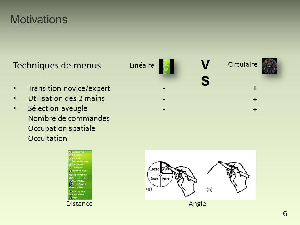 Motivations 7 Techniques de menus Transition novice/expert Utilisation des 2 mains Sélection aveugle Nombre de commandes Occupation spatiale Occultation Linéaire VSVS -+-+ -+-+ -+-+ +-+- Jusqu'à 15 commandes Limité par le secteur angulaire 8 commandes maximum Circulaire