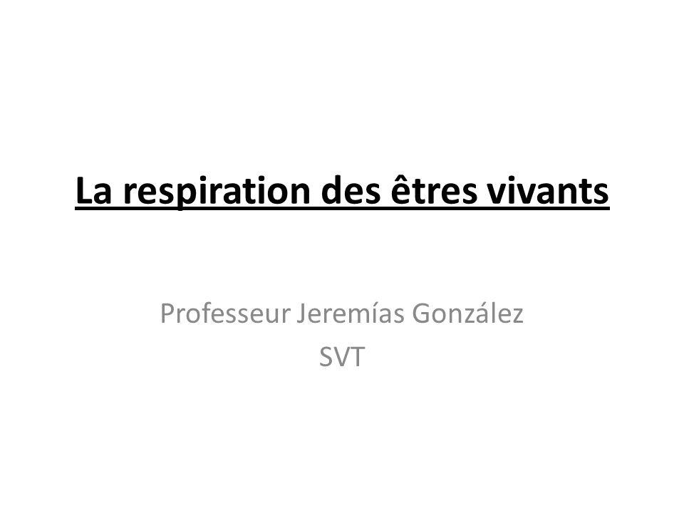 La respiration des êtres vivants Professeur Jeremías González SVT