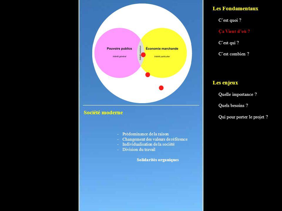 Société moderne -Prédominance de la raison -Changement des valeurs de référence -Individualisation de la société -Division du travail Solidarités organiques Les Fondamentaux C'est quoi .