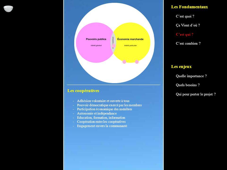 Les coopératives -Adhésion volontaire et ouverte à tous -Pouvoir démocratique exercé par les membres -Participation économique des membres -Autonomie et indépendance -Education, formation, information -Coopération entre les coopératives -Engagement envers la communauté Les Fondamentaux C'est quoi .