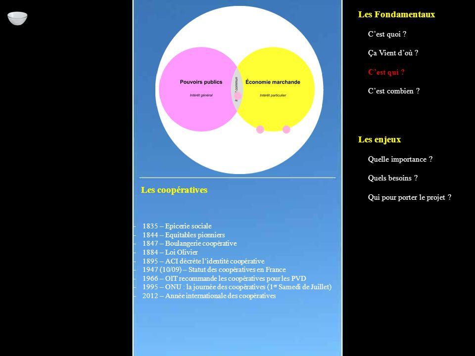 Les coopératives -1835 – Epicerie sociale -1844 – Equitables pionniers -1847 – Boulangerie coopérative -1884 – Loi Olivier -1895 – ACI décrète l'identité coopérative -1947 (10/09) – Statut des coopératives en France -1966 – OIT recommande les coopératives pour les PVD -1995 – ONU : la journée des coopératives (1 er Samedi de Juillet) -2012 – Année internationale des coopératives Les Fondamentaux C'est quoi .
