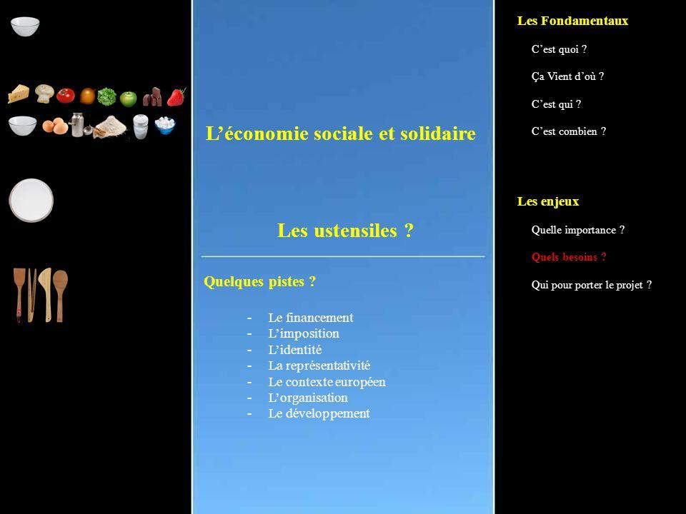 L'économie sociale et solidaire Quelques pistes . Les ustensiles .