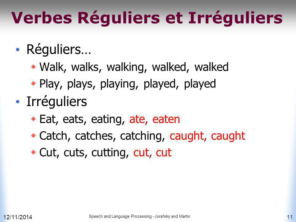 12/11/2014 Speech and Language Processing - Jurafsky and Martin 11 Verbes Réguliers et Irréguliers Réguliers…  Walk, walks, walking, walked, walked 
