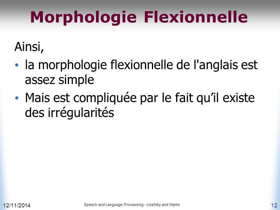 12/11/2014 Speech and Language Processing - Jurafsky and Martin 12 Morphologie Flexionnelle Ainsi, la morphologie flexionnelle de l'anglais est assez