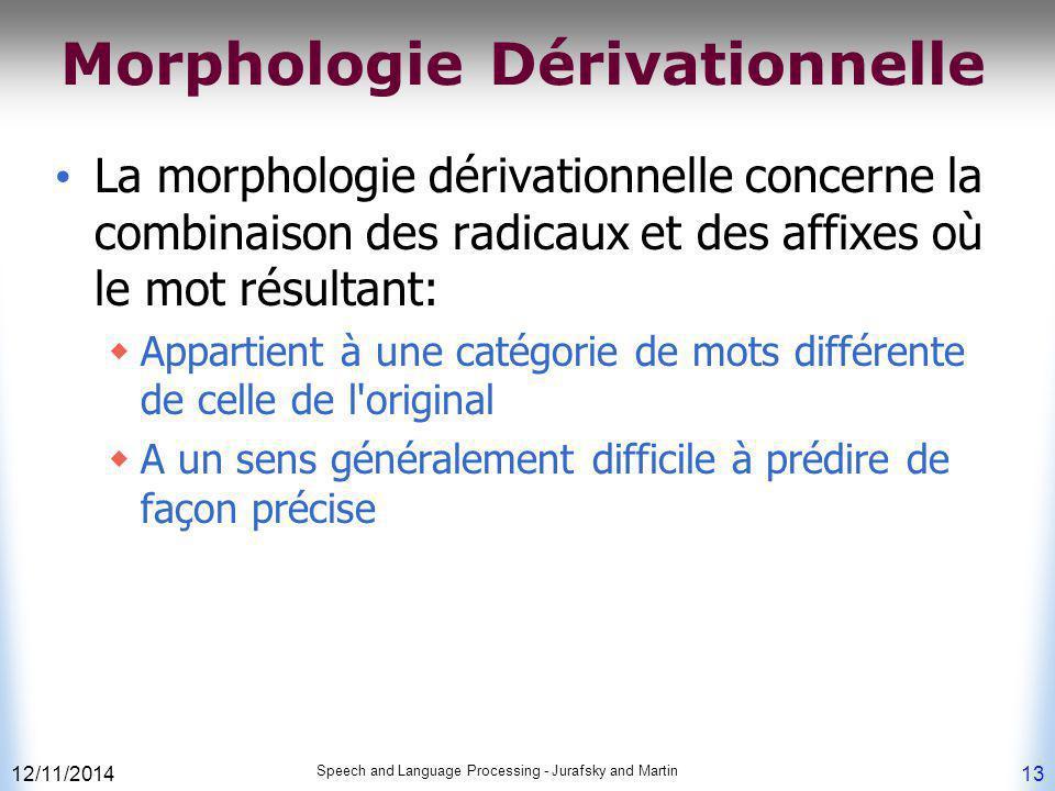 Morphologie Dérivationnelle La morphologie dérivationnelle concerne la combinaison des radicaux et des affixes où le mot résultant:  Appartient à une