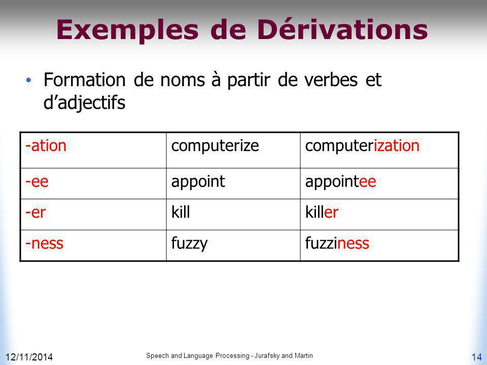 12/11/2014 Speech and Language Processing - Jurafsky and Martin 14 Exemples de Dérivations Formation de noms à partir de verbes et d'adjectifs -ationc