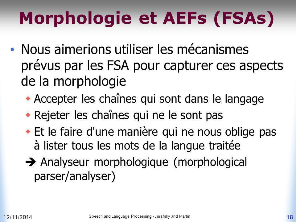 12/11/2014 Speech and Language Processing - Jurafsky and Martin 18 Morphologie et AEFs (FSAs) Nous aimerions utiliser les mécanismes prévus par les FS