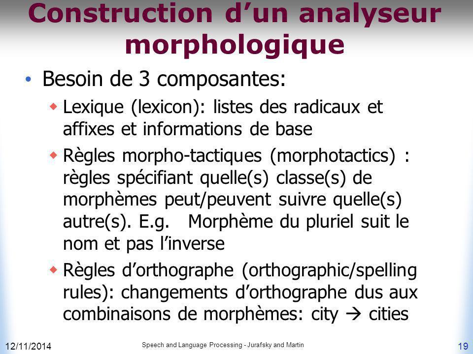Construction d'un analyseur morphologique Besoin de 3 composantes:  Lexique (lexicon): listes des radicaux et affixes et informations de base  Règle