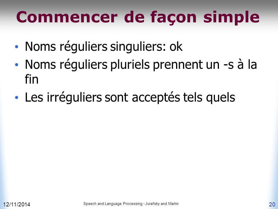 12/11/2014 Speech and Language Processing - Jurafsky and Martin 20 Commencer de façon simple Noms réguliers singuliers: ok Noms réguliers pluriels pre