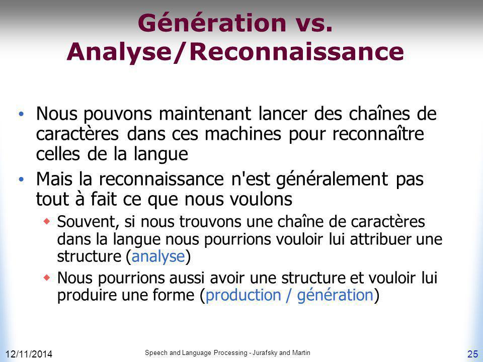 12/11/2014 Speech and Language Processing - Jurafsky and Martin 25 Génération vs. Analyse/Reconnaissance Nous pouvons maintenant lancer des chaînes de
