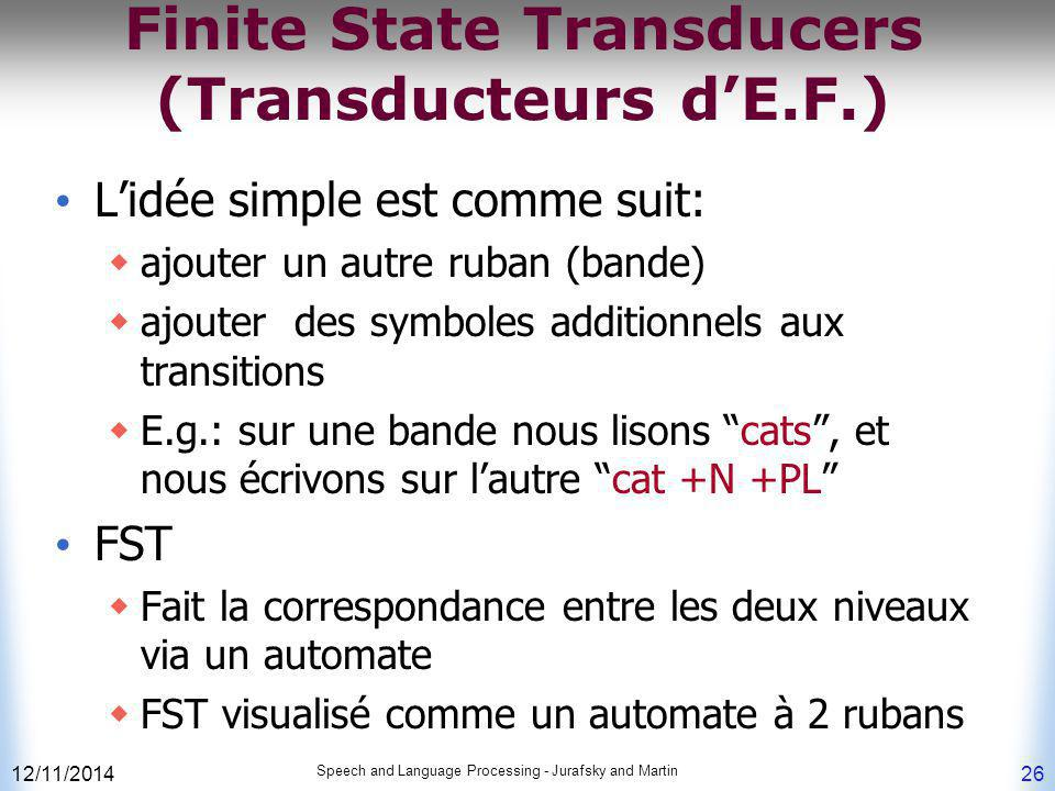 12/11/2014 Speech and Language Processing - Jurafsky and Martin 26 Finite State Transducers (Transducteurs d'E.F.) L'idée simple est comme suit:  ajo