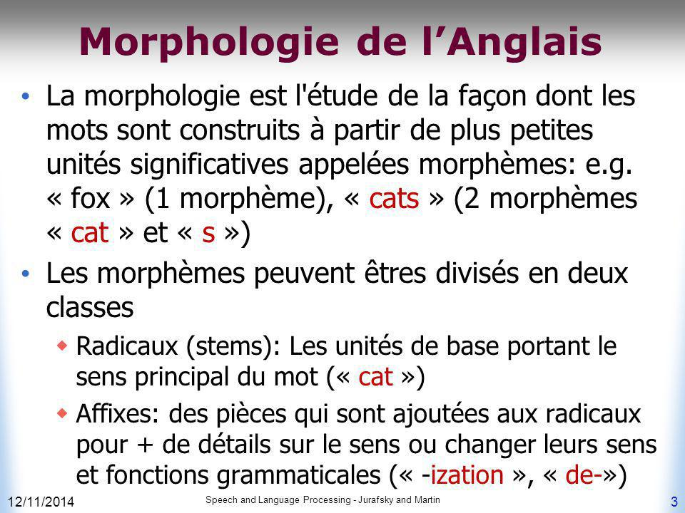 12/11/2014 Speech and Language Processing - Jurafsky and Martin 24 Lexiques et Analyse Morphologique Ainsi, la vue d ensemble est de stocker  un lexique (liste de mots que vous aimez) sous forme de FSA.
