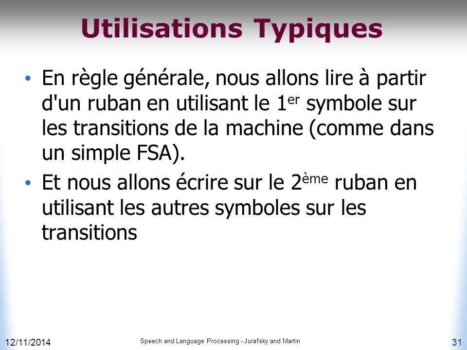 12/11/2014 Speech and Language Processing - Jurafsky and Martin 31 Utilisations Typiques En règle générale, nous allons lire à partir d'un ruban en ut