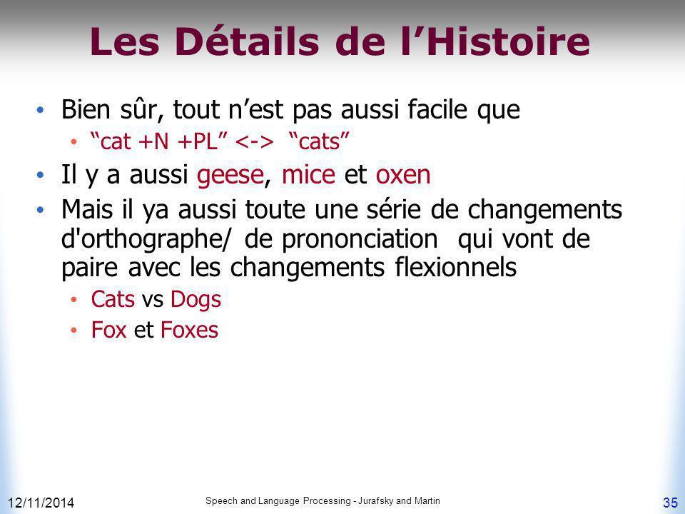 """12/11/2014 Speech and Language Processing - Jurafsky and Martin 35 Les Détails de l'Histoire Bien sûr, tout n'est pas aussi facile que """"cat +N +PL"""" """"c"""