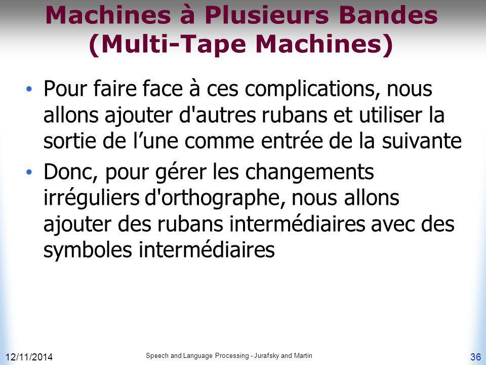 12/11/2014 Speech and Language Processing - Jurafsky and Martin 36 Machines à Plusieurs Bandes (Multi-Tape Machines) Pour faire face à ces complicatio