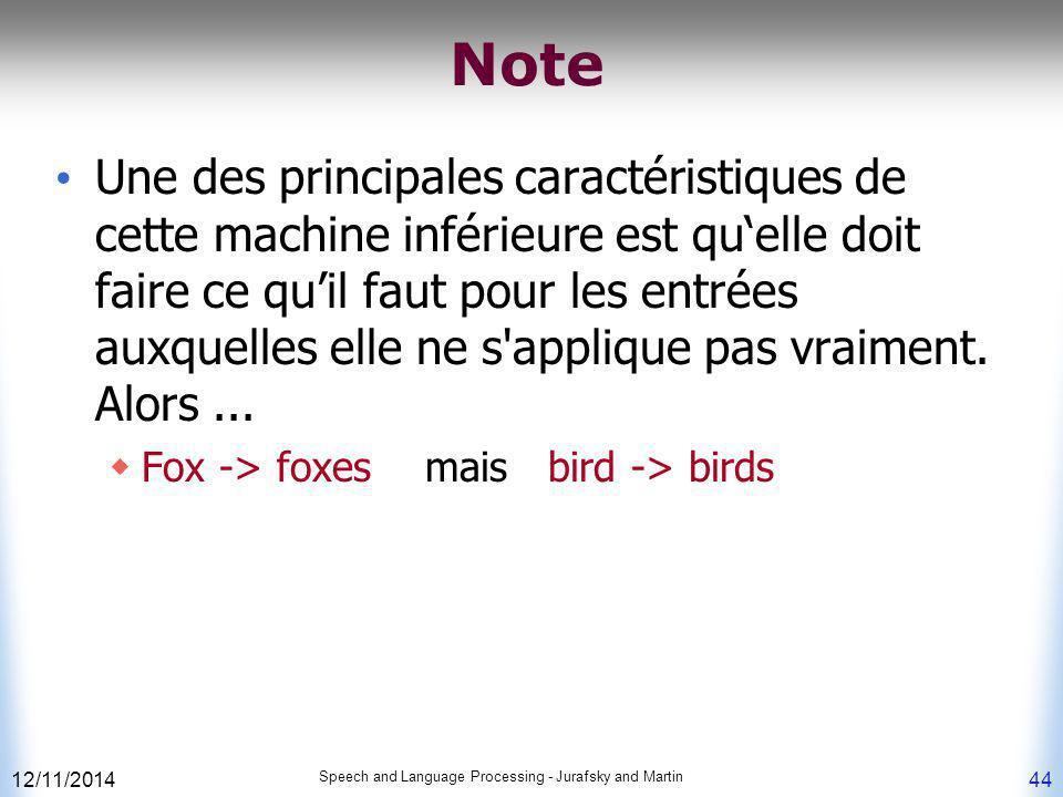 12/11/2014 Speech and Language Processing - Jurafsky and Martin 44 Note Une des principales caractéristiques de cette machine inférieure est qu'elle d