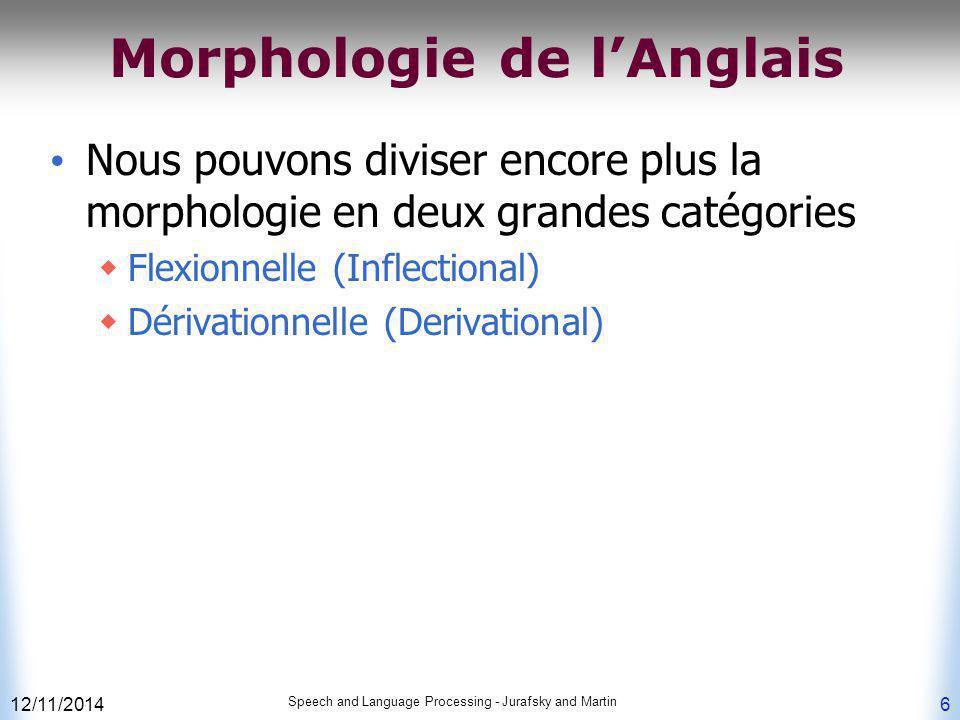 12/11/2014 Speech and Language Processing - Jurafsky and Martin 6 Morphologie de l'Anglais Nous pouvons diviser encore plus la morphologie en deux gra