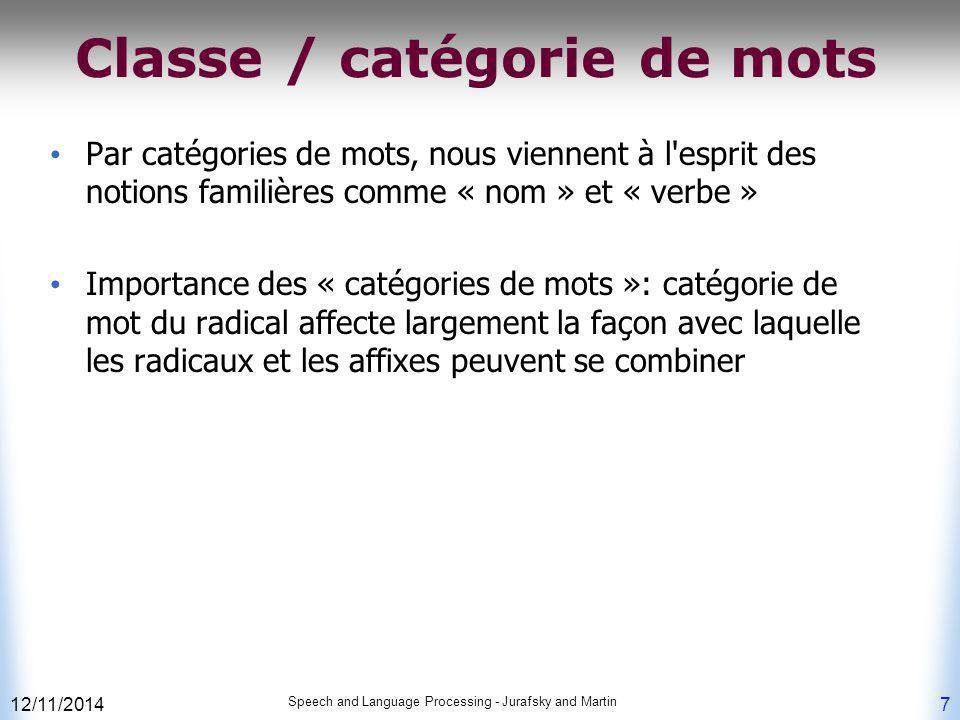 12/11/2014 Speech and Language Processing - Jurafsky and Martin 7 Classe / catégorie de mots Par catégories de mots, nous viennent à l'esprit des noti