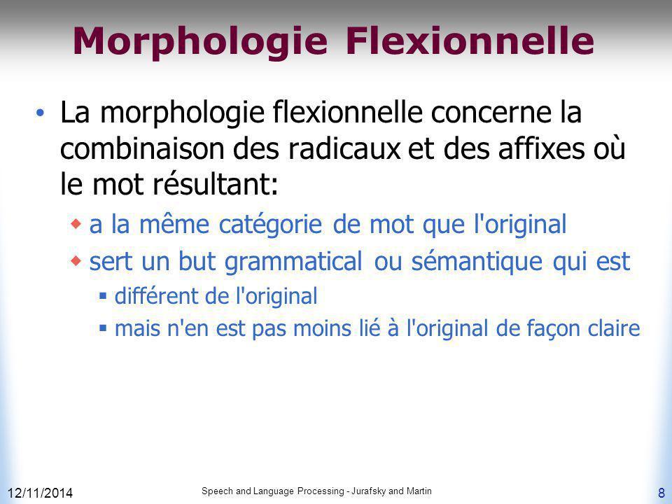 12/11/2014 Speech and Language Processing - Jurafsky and Martin 8 Morphologie Flexionnelle La morphologie flexionnelle concerne la combinaison des rad