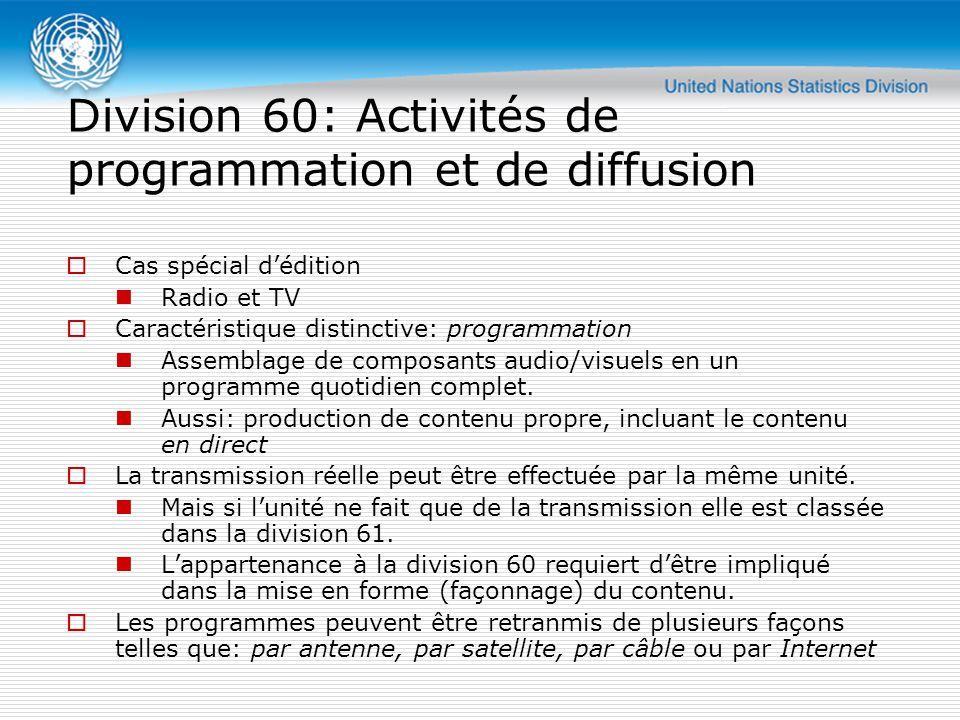  Cas spécial d'édition Radio et TV  Caractéristique distinctive: programmation Assemblage de composants audio/visuels en un programme quotidien complet.