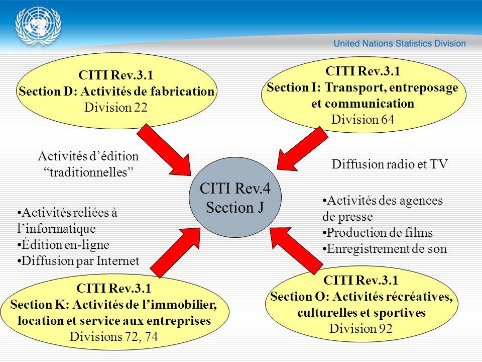 CITI Rev.4 Section J CITI Rev.3.1 Section D: Activités de fabrication Division 22 CITI Rev.3.1 Section I: Transport, entreposage et communication Division 64 CITI Rev.3.1 Section K: Activités de l'immobilier, location et service aux entreprises Divisions 72, 74 CITI Rev.3.1 Section O: Activités récréatives, culturelles et sportives Division 92 Activités d'édition traditionnelles Diffusion radio et TV Activités reliées à l'informatique Édition en-ligne Diffusion par Internet Activités des agences de presse Production de films Enregistrement de son