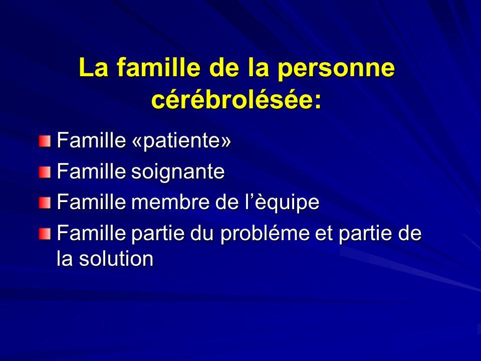La famille de la personne cérébrolésée: Famille «patiente» Famille soignante Famille membre de l'èquipe Famille partie du probléme et partie de la solution