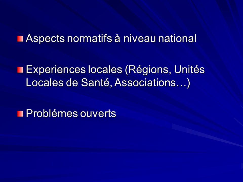 Aspects normatifs à niveau national Experiences locales (Régions, Unités Locales de Santé, Associations…) Problémes ouverts